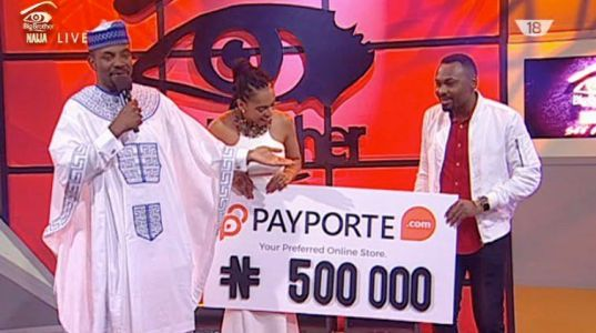 #BBFinale - TBoss wins #500,000 for being The Arena Games overall winner, Bisola wins the One challenge