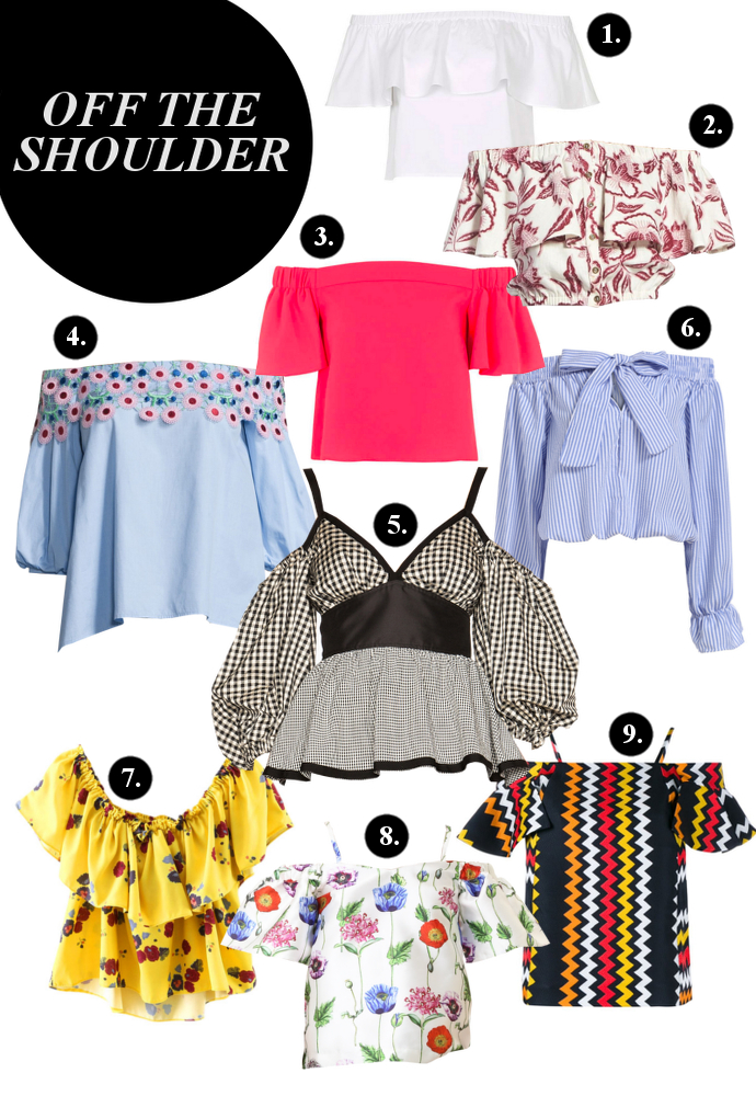 Off the shoulder, Off Shoulder, Topshop Off-The-Shoulder Bardot Blouse, Nordstrom ASTR 'Rosa' Off the Shoulder Linen Cotton Crop Top, Topshop Structured Bardot Blouse, Peter Pilotto Embroidered Off-the-Shoulder Top,  Isa Arfen Off The Shoulder Puff Sleeve Top, Romwe Boat Neck With Bow Vertical Striped Blue Top, Shein Yellow Off The Shoulder Ruffle Floral Blouse, Re:named Floral Cold Shoulder Top, MSGM Off-Shoulder Zig Zag Top