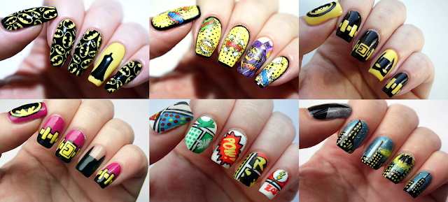 DC Comics Robin Batman Batgirl Bat Signal Comic Book Nerd Nails