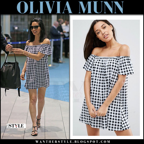 a07533e4be13 Olivia Munn in black and white off shoulder gingham mini dress asos what  she wore may