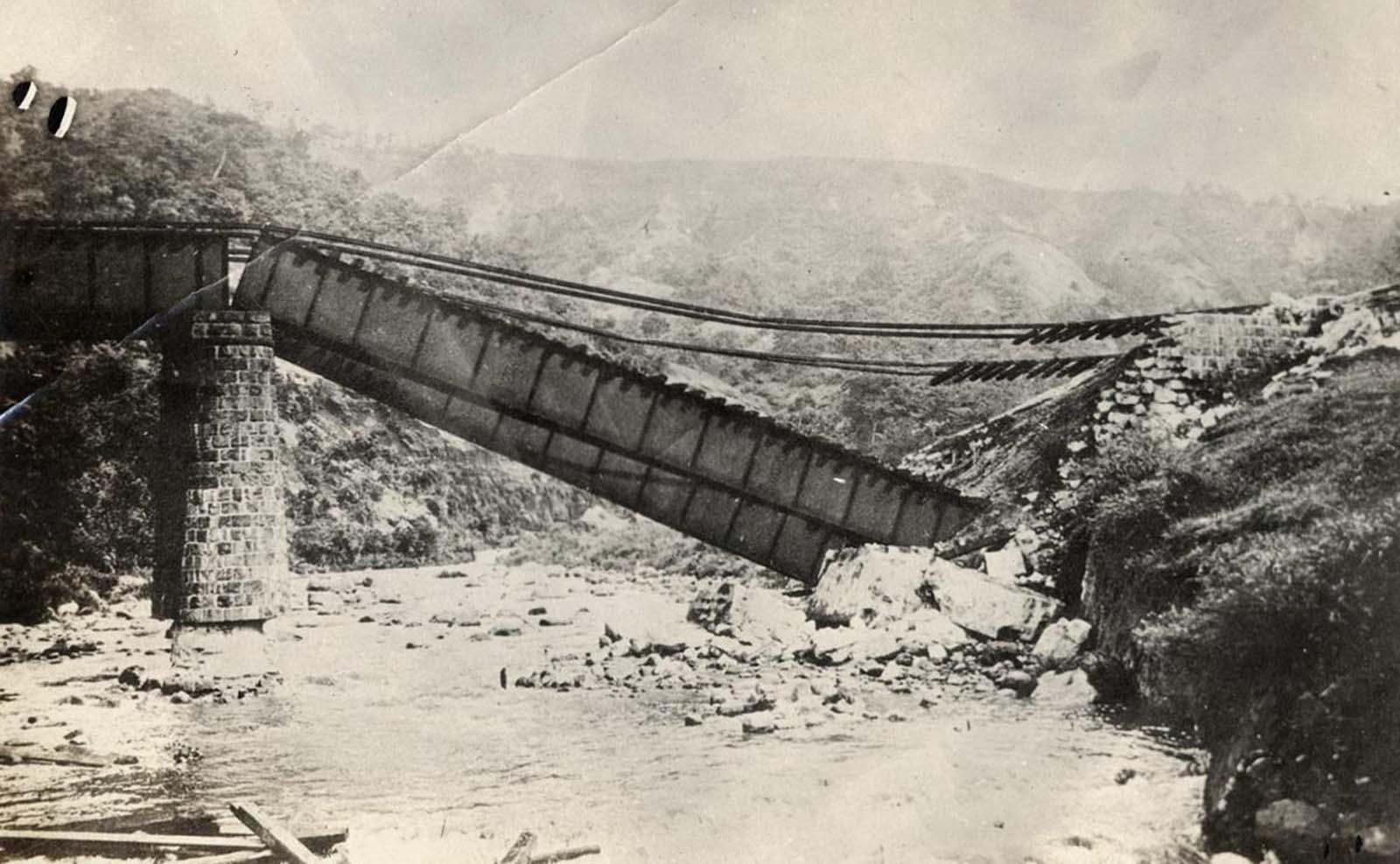 A fallen bridge.