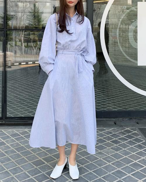 Tie-Waist Long Shirt Dress