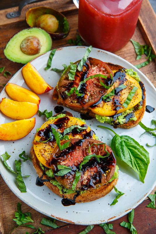 Heirloom Tomato Avocado Toast With Balsamic Drizzle