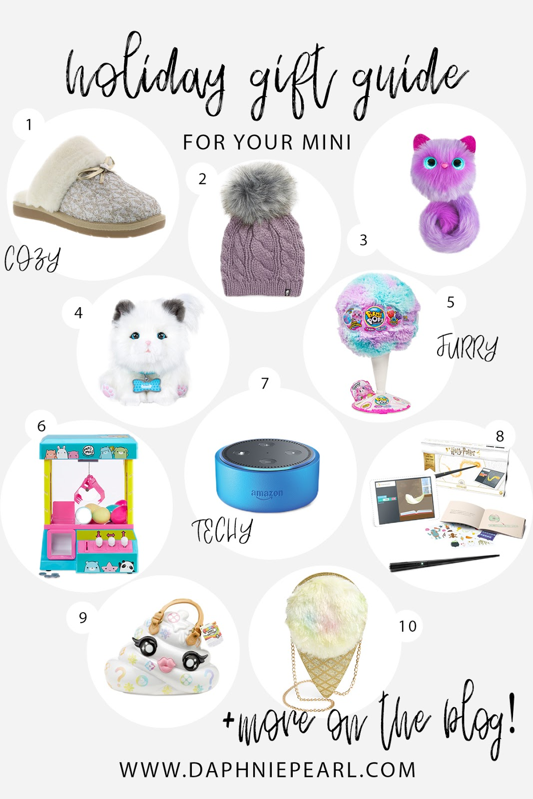 Holiday Gift Guide for Your Mini - sharing Daphnie's Christmas List and all of her favorite toys and wishes for the holiday! Little Girl Christmas Gift Ideas Holiday Present Idea Slippers Ugg MojMoj Moj Moj Claw Machine The North Face Beanie Pomsie Unicorn Pikmi Pop Flip Giant Kitty Fur Electronic Echo Dot Kids Kano Harry Potter Coding Wand Pooey Puitton Poopsie Slime Surprise Bag