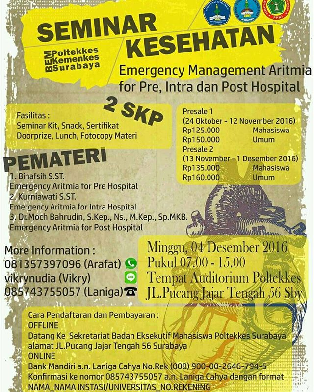 Seminar: Emergency Management Aritmia for Pre, Intra and Post Hospital