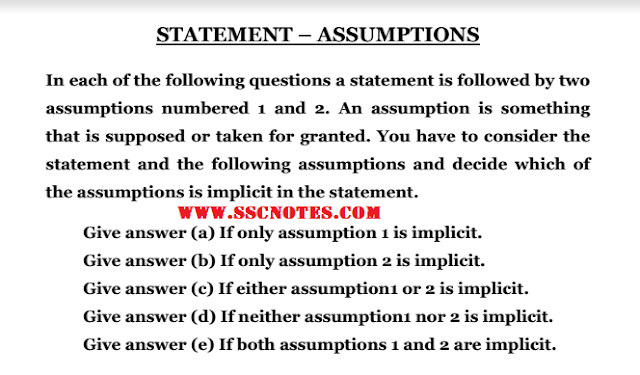 Statements & Assumptions Notes for Competitive Exams PDF Download