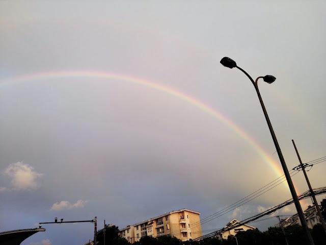 上海の虹のアップ