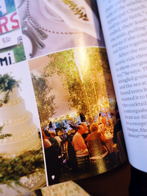 Bridal Magazine: White birch trees hung with twinkling lights.