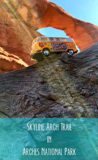 Title Card showing the yellow van in front of Skyline Arch