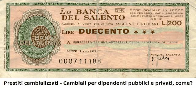 Prestiti cambializzati per dipendenti pubblici e privati