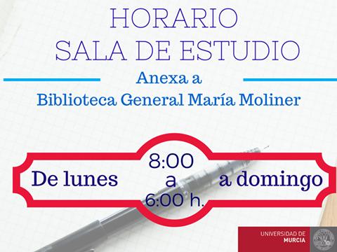La Sala de Estudio, anexa a la Biblioteca General María Moliner, vuelve a abrir en su horario habitual.