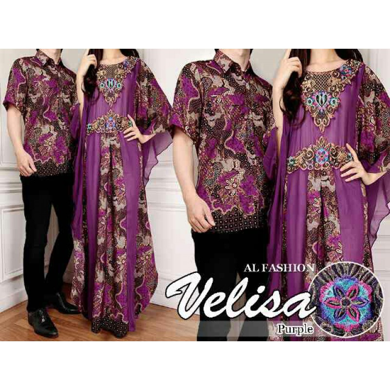 Jual Batik Gamis Couple Velisa Purple - 24228