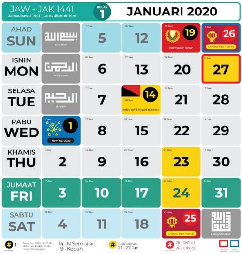 kalender kuda islamik 2020 pdf Januari Februari Mac April Mei Jun Julai Ogos September Oktober November Disember