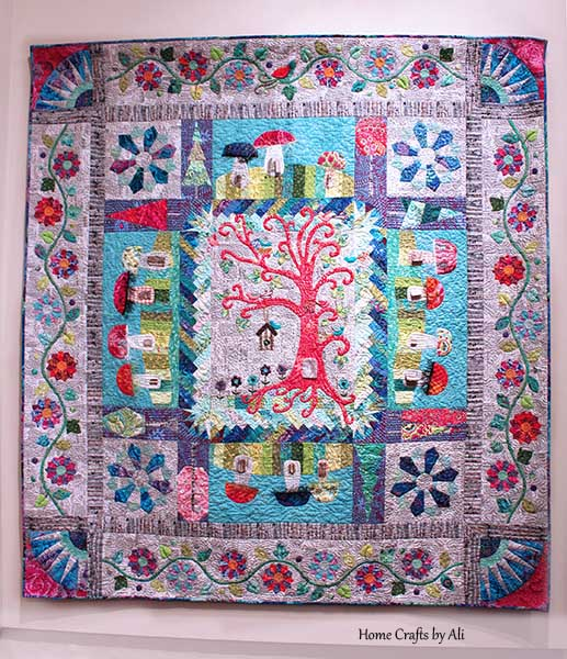 detailed tree and house quilt
