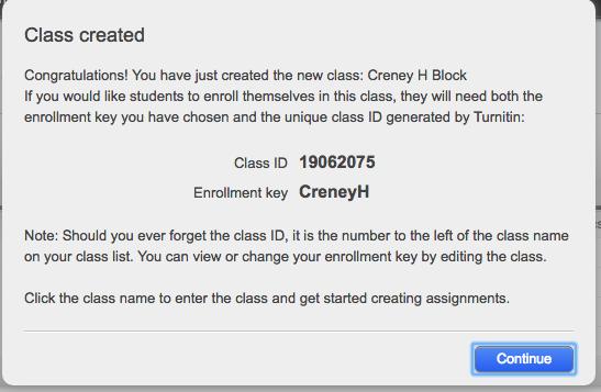 Turnitin Class Id