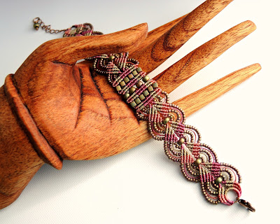 Micro macrame bracelet in khaki and pink from Knot Just Macrame.