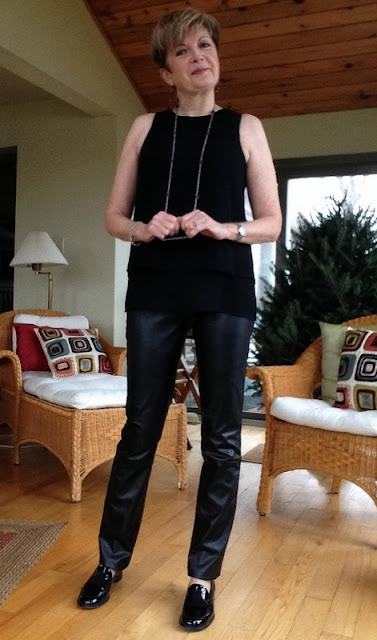 Rag and Bone tank, Holt Renfrew leather trousers, Stuart Weitzman loafers.