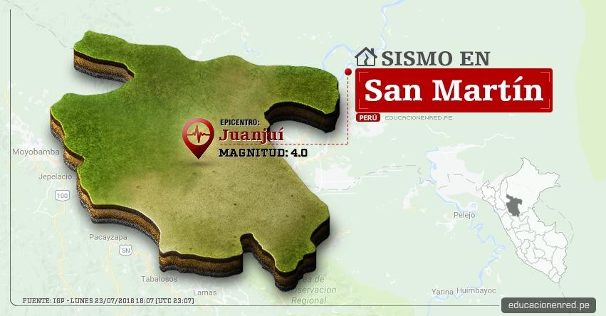 Temblor en San Martín de magnitud 4.0 (Hoy Lunes 23 Julio 2018) Sismo EPICENTRO Juanjuí - Mariscal Cáceres - Tarapoto - IGP - www.igp.gob.pe