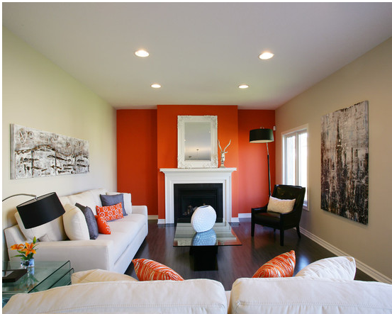 living room paint color ideas : orange combinations