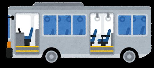 ツーステップバスのイラスト(ドアが開いた状態)