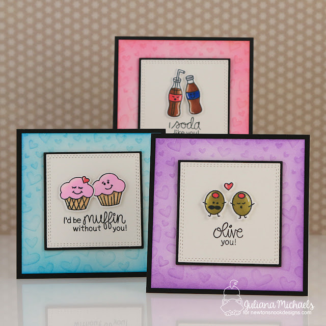 Mini Valentine Cards by Juliana Michaels featuring Newton's Nook Designs Love Bites Stamp Set and Tumbling Hearts Stencil