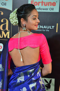Shanvi Looks Super Cute in Pink Backless Choli Blue Saree at IIFA Utsavam Awards 2017 06.JPG