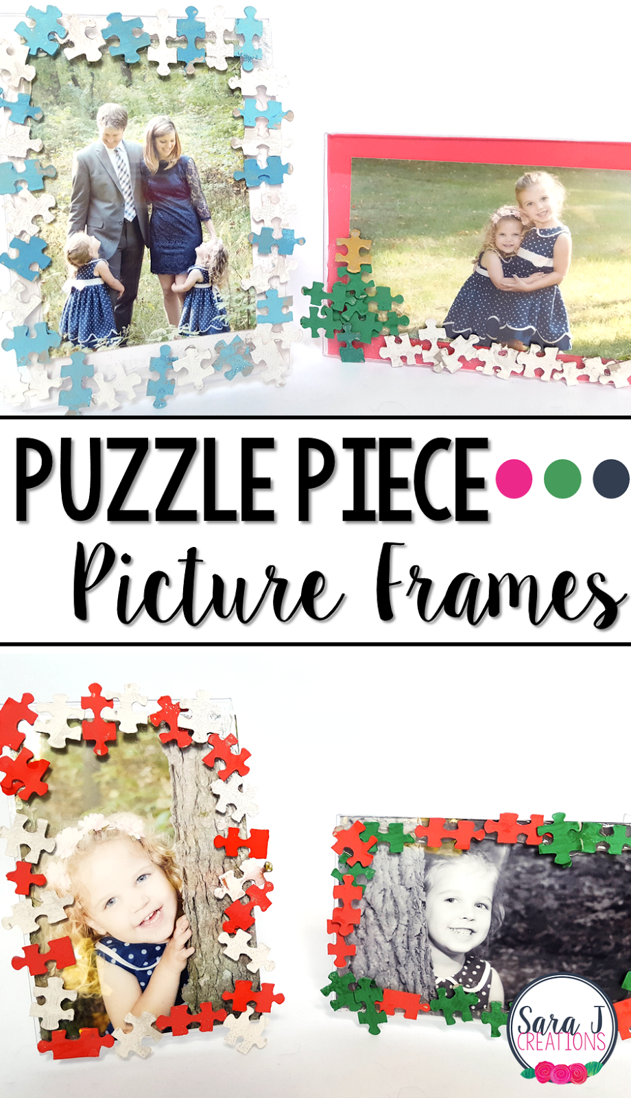 This DIY Christmas gift idea is the perfect craft for kids to make for their family members.  I love the different colored puzzle pieces on the picture frame!