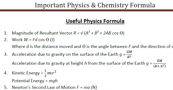 Important physics and chemistry formula PDF Download
