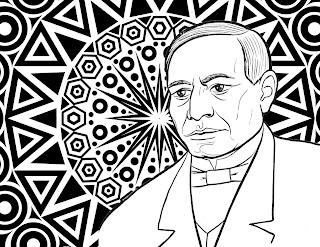 Mandala de Benito Juárez para colorear