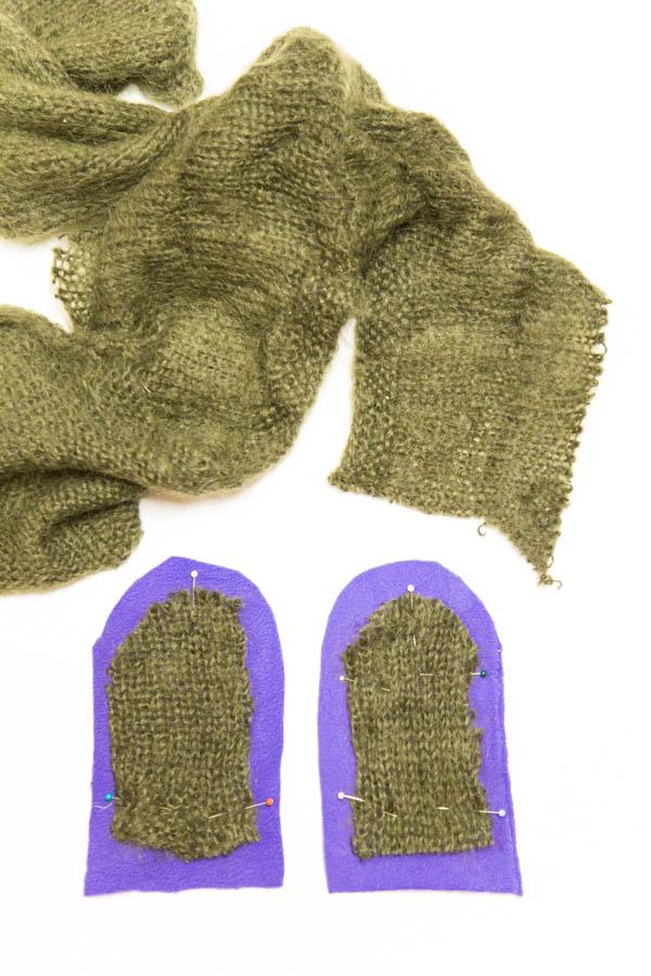 Nahkarukkasten kämmenselkäkappaleeseen lisälämmikettä vanhasta villapaidasta