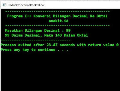 Contoh Program C++ Konversi Bilangan Decimal Ke Oktal dengan menggunakan aplikasi Dev-C++. Untuk  Script Program C++ Konversi Bilangan Decimal Ke Oktal seperti tertera dibawah ini.