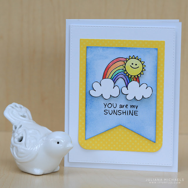You Are My Sunshine Card by Juliana Michaels featuring SRM Stickers Jane's Doodles Rain Or Shine Clear Stamps