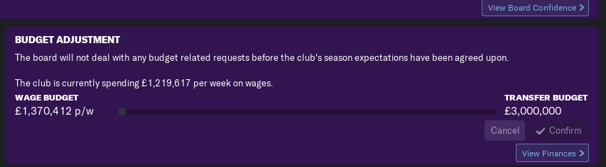 FM19 Newcastle United Transfer Budget