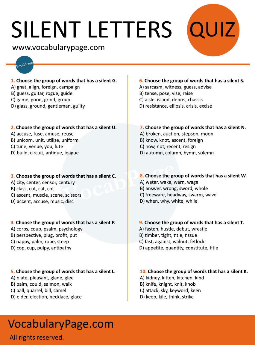 worksheet Silent W Words Worksheets silent letter quiz 2 letters worksheet