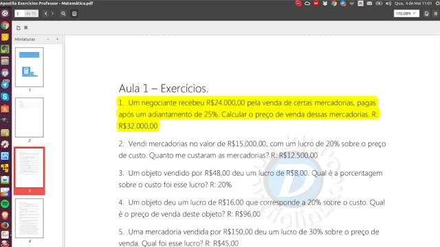 Leitor de PDF do Ubuntu com função destaca texto
