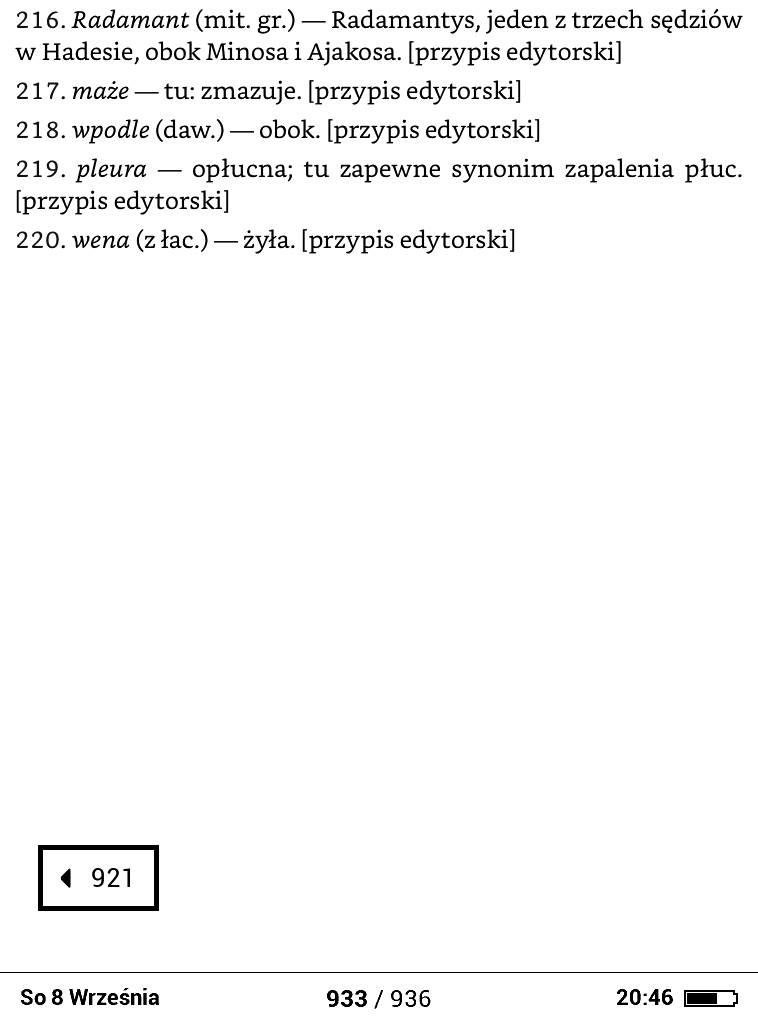Obsługa przypisów PocketBook Basic Lux 2 – w lewym dolnym rogu pojawia się prostokąt numeru strony, na której znajduj się indeks przypisu