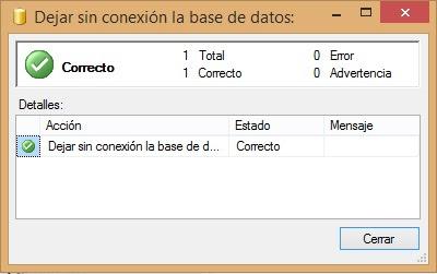 Dejar sin conexión la base de datos