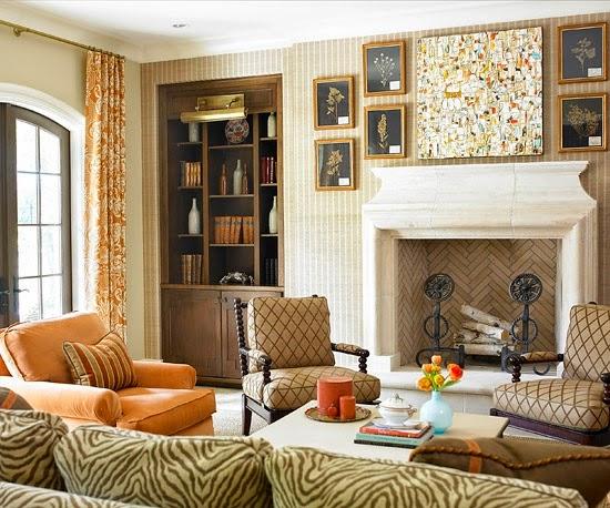 decoración sala con chimenea