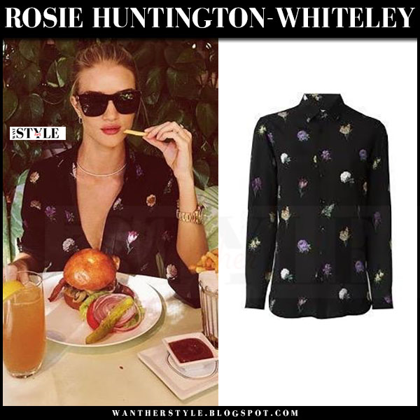 Rosie Huntington-Whiteley in black flower print blouse saint laurent aerial and black sunglasses sl 93 what she wore