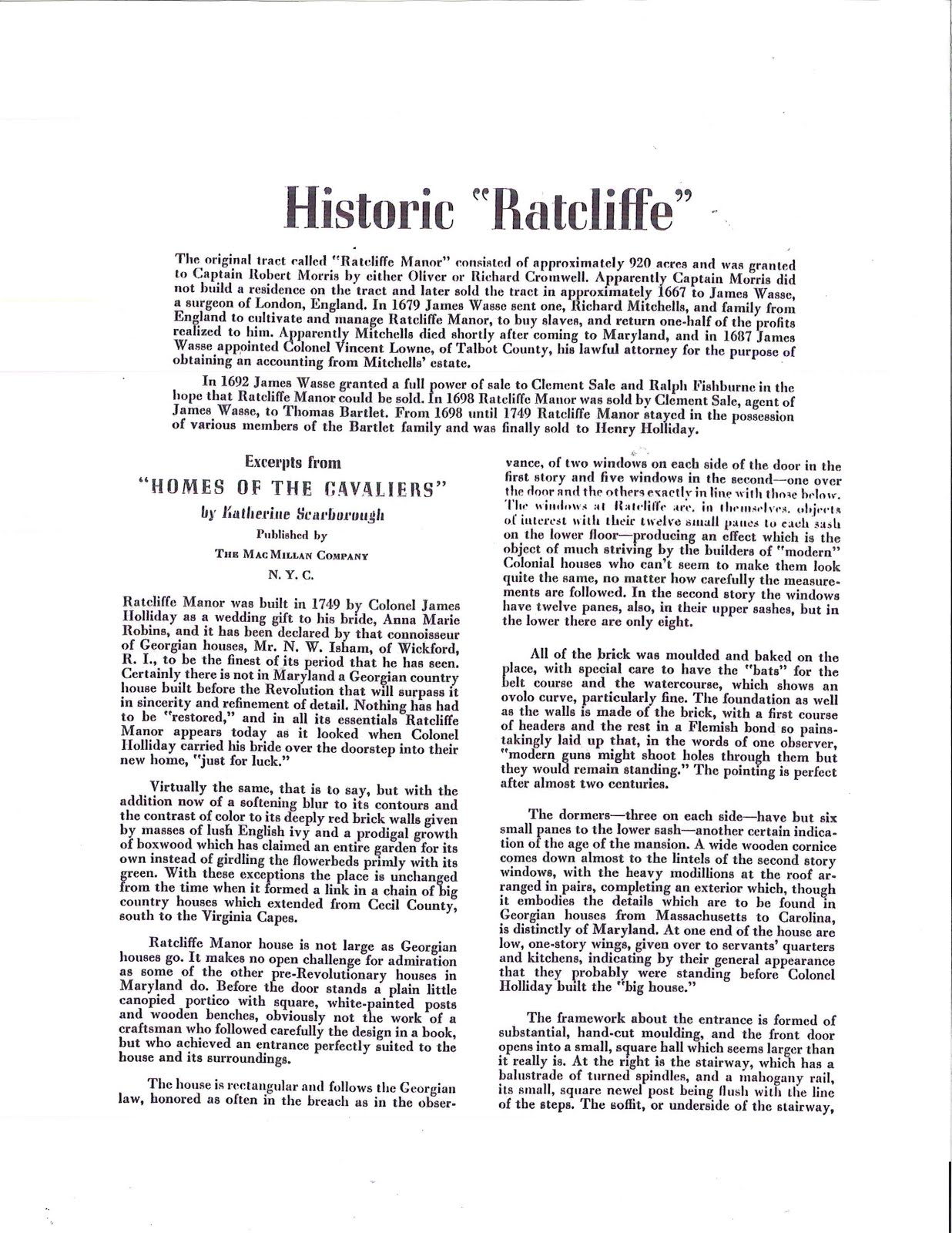 History of Ratcliffe