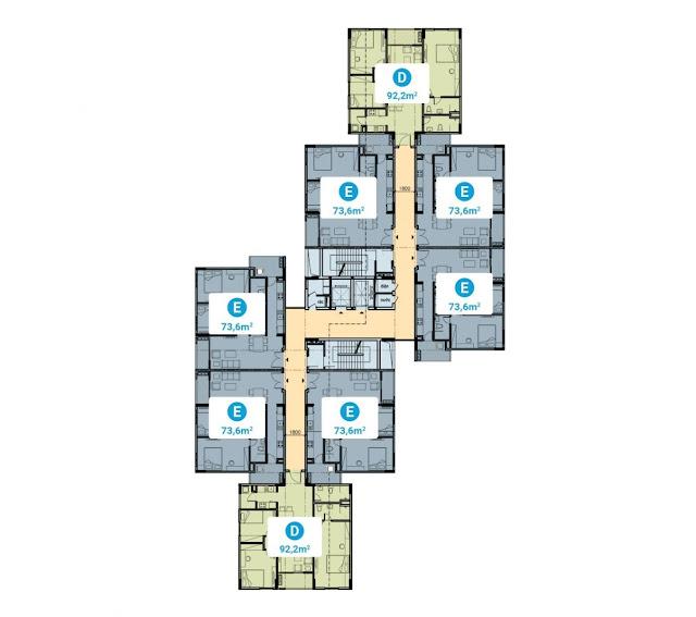Mặt bằng từ tầng 2- 9 tòa CC4