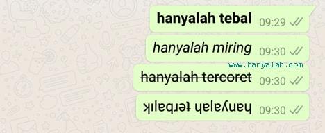 Cara Bikin Huruf di WhatsApp Jadi Tebal, Miring, Tercoret dan Terbalik