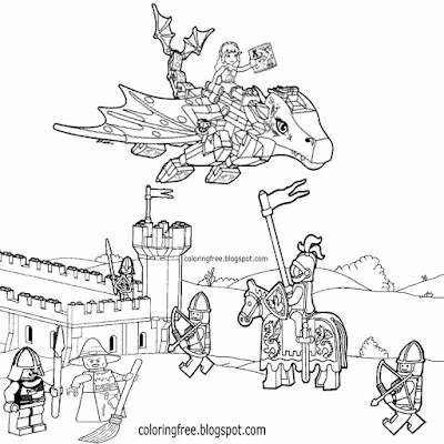 Clipart Middle Ages dragon attack medieval coloring pages kids Lego castle drawing knight pictures