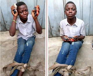 Young Boy Caught In Lagos After Stealing Phones And Money