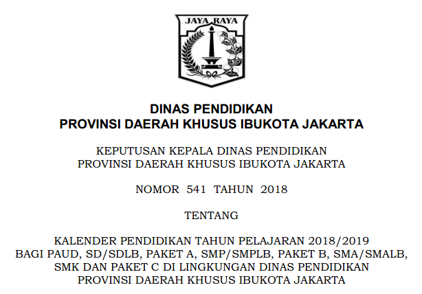 Kalender Pendidikan Provinsi DKI Jakarta Tahun Pelajaran 2018/2019