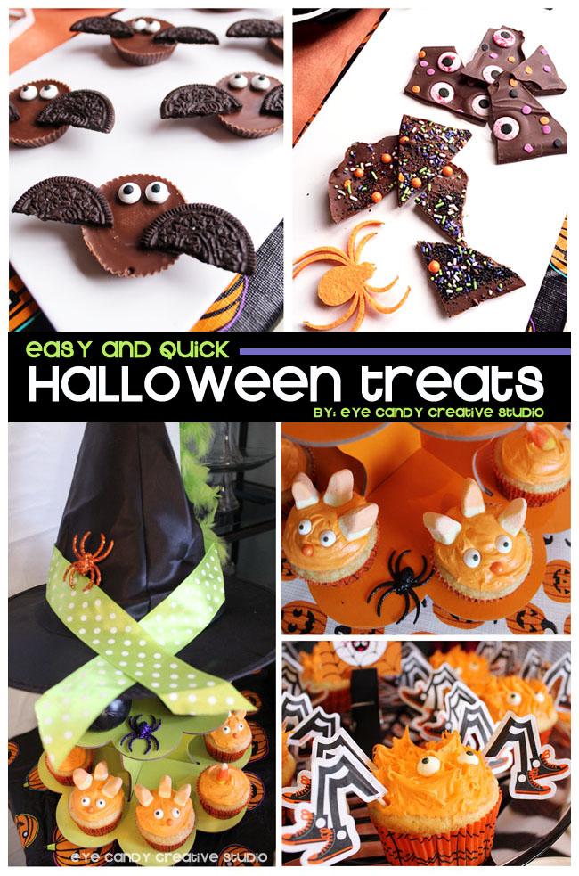 monster cupcakes, reese bats, halloween bark, easy halloween treats