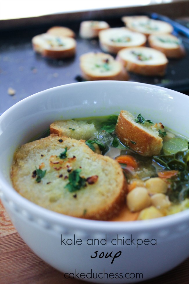 Kale and Chickpea Soup with Garlic Crostini - Savoring Italy