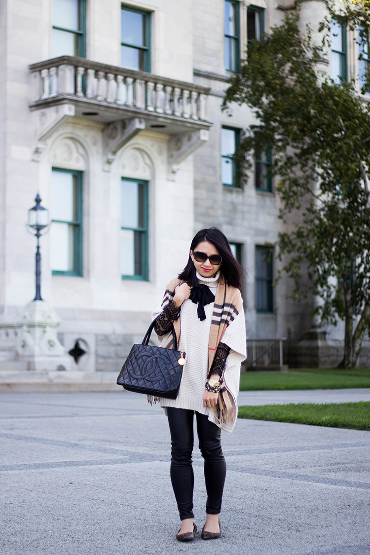 c926ebbc7d56 Fall Poncho (+ Burberry Heritage Giant Check Cashmere Scarf Review ...