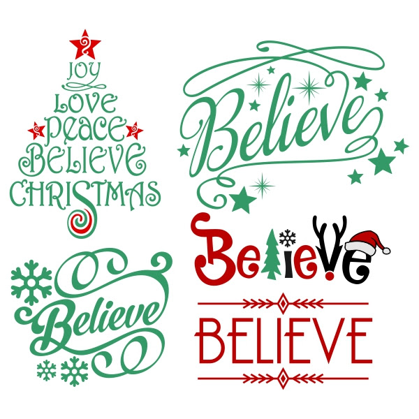 Christmas Believe Five Ways Free Silhouette Studio