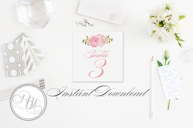 Dusty Pink Peonies, Roses, Table, Number, Name, template